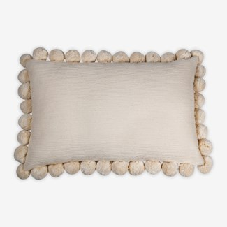 "Pillow 21"" X 13"" - Large size pompom fringe texture nubby slub - Oatmeal (feather/down inserts)"