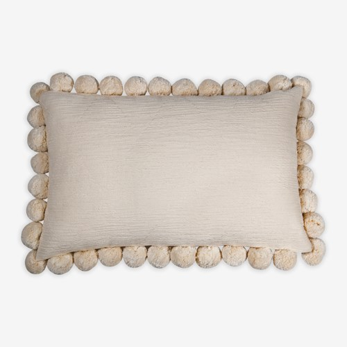 "Serena Pom Pom Lumbar Pillow (21"" x 13"") - Oatmeal"