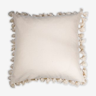 "Pillow 22"" X 22"" - Tassel pompom fringe texture cotton slub - Oatmeal (feather/down inserts)"