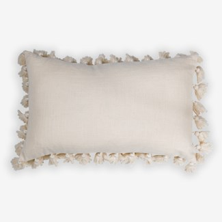 "Pillow 21"" X 13"" - Tassel pompom fringe texture cotton slub - oatmeal (feather/down inserts)"
