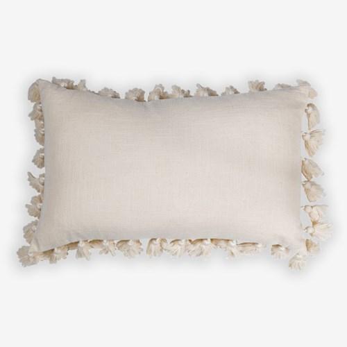 "Rhoda Tassel Lumbar Pillow (21"" X 13"") - Oatmeal"