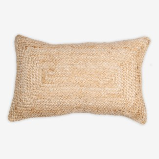 "Pillow 21"" X 13"" -- Braided natural fiber (feather/down inserts)"