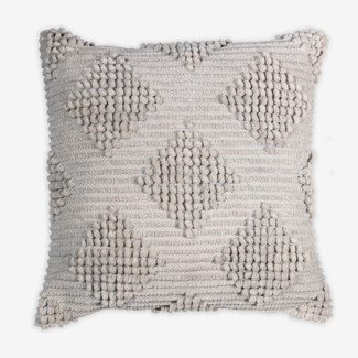 "Pillow 22"" X 22"" Woven loop thread diamond - Light Grey (feather/down inserts)"
