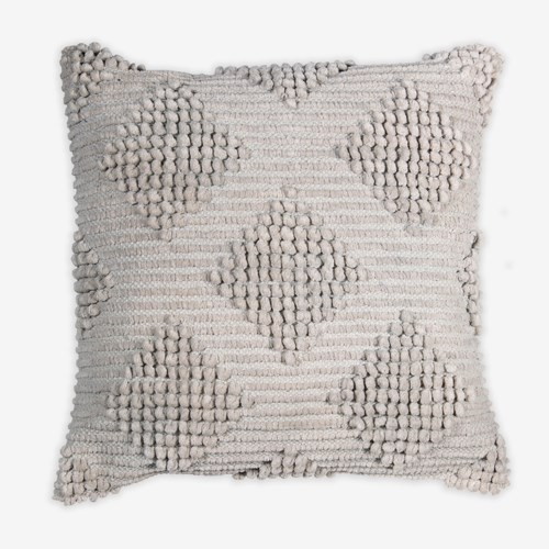 "(LS) Karina Woven Diamond Square Pillow (22"" x 22"") - Light Grey"