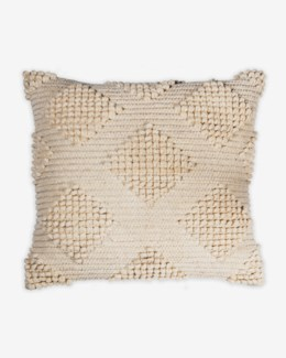 "Pillow 22"" X 22"" Woven loop thread diamond - Oatmeal (feather/down inserts)"