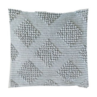 "Pillow 22"" X 22"" Woven loop thread diamond - Taupe (feather/down inserts)"