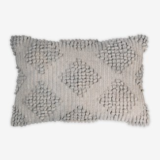 "Pillow 21"" X 13"" Woven loop thread diamond - Light Gray (feather/down inserts)"