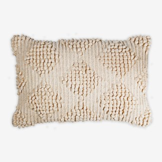"Pillow 21"" X 13"" Woven loop thread diamond - Oatmeal (feather/down inserts)"