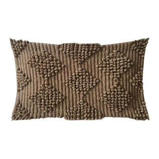 "Pillow 21"" X 13"" Woven loop thread diamond - Taupe (feather/down inserts)"