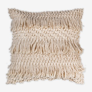 "Pillow 22"" X 22"" - Woven knotted fringes pattern - Oatmeal (feather/down inserts)"