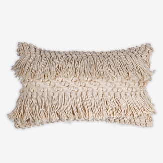"Pillow 21"" X 13"" - Woven knotted fringes pattern - Oatmeal (feather/down inserts)"
