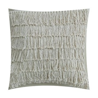 "Pillow 22"" X 22"" -- Woven single knot long fringes - Oatmeal (feather/down inserts)"