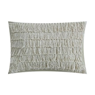 "Pillow 21"" X 13"" -- Woven single knot long fringes - Oatmeal (feather/down inserts)"