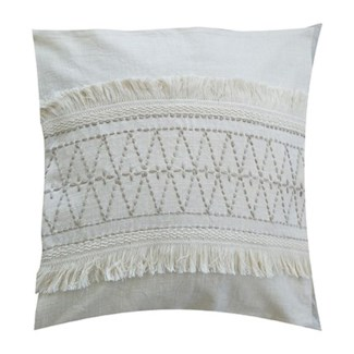 "Pillow 22"" X 22"" - Hand kantha diamond embroidery with fringe - Oatmeal/ Natural (feather/down inser"