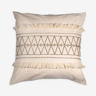 "Pillow 22"" X 22"" - Hand kantha diamond embroidery with fringe - Oatmeal/ Taupe (feather/down inserts"