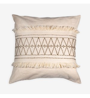 "(LS) Melody Embroidered Square Pillow (22"" X 22"") - Oatmeal/ Taupe"