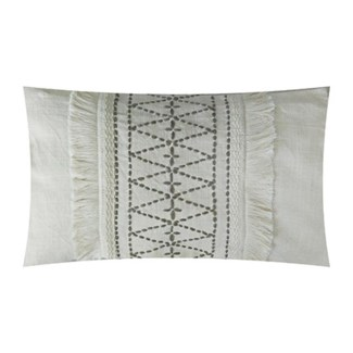 "Pillow 21"" X 13"" - Hand kantha diamond embroidery with fringe - Oatmeal/ Natural (feather/down inser"