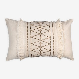 "Pillow 21"" X 13"" - Hand kantha diamond embroidery with fringe - Oatmeal/ Taupe (feather/down inserts"