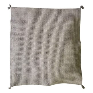 "Pillow 22"" X 22"" - Waffle weave with corner tassles - Light Gray (feather/down inserts)"