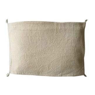 "Pillow 21"" X 13"" - Waffle weave with corner tassles - Oatmeal (feather/down inserts)"