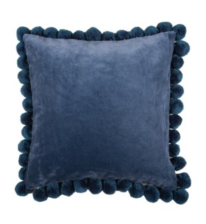 "Hamal 20"" Square Velvet Pillow with Pom Poms, Classic Blue"