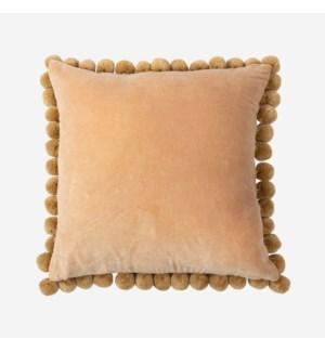 """Hamal 20"""" Square Velvet Pillow with Pom Poms, Gold"""