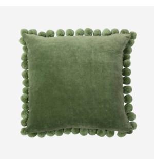 """Hamal 20"""" Square Velvet Pillow with Pom Poms"""