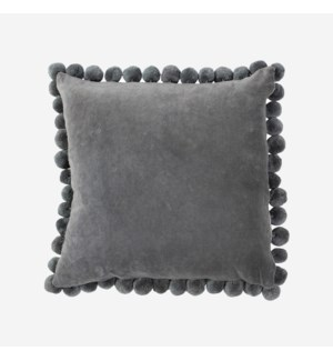 "Hamal 20"" Square Velvet Pillow with Pom Poms, Grey"