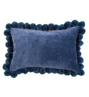 Hamal Lumbar Velvet Pillow with Pom Poms, Classic Blue
