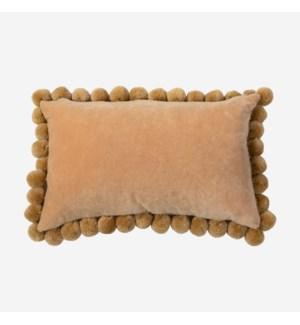 Hamal Lumbar Velvet Pillow with Pom Poms, Gold