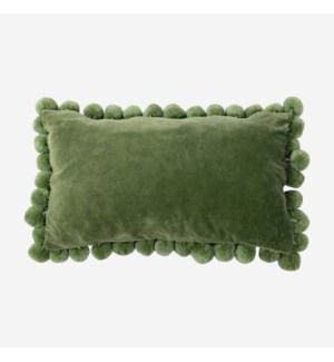 Hamal Lumbar Velvet Pillow with Pom Poms, Green