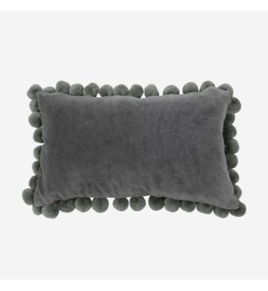 Hamal Lumbar Velvet Pillow with Pom Poms, Grey