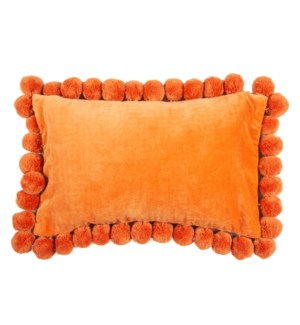 Hamal Lumbar Velvet Pillow with Pom Poms, Tangerine