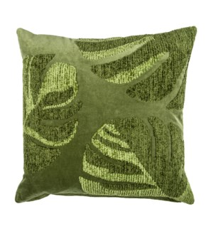 "Lyria 20"" Square Embroidered Pillow, Green"