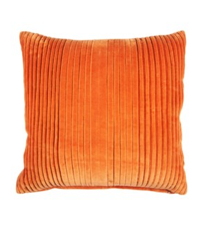 "Maisie 20"" Square Pleated Pillow, Tangerine"