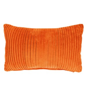 Maisie Lumbar Pleated Pillow, Tangerine