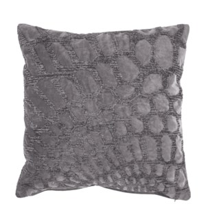 "Alden 20"" Square Embroidered Pillow, Grey"