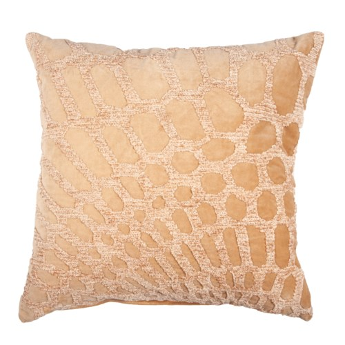 "Alden 20"" Square Embroidered Pillow, Gold"