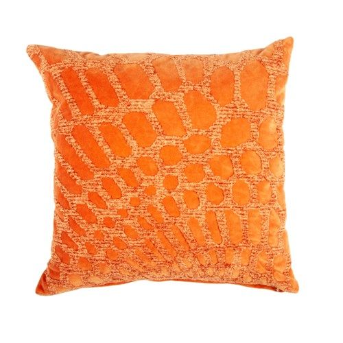 "Alden 20"" Square Embroidered Pillow, Tangerine"