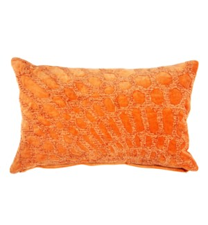 Alden Lumbar Embroidered Pillow, Tangerine