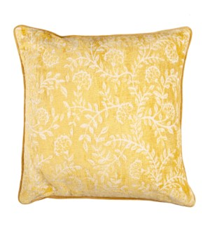 "Isadora 20"" Square Jaquard Pillow, Yellow"