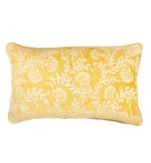 Isadora Lumbar Jaquard Pillow, Yellow
