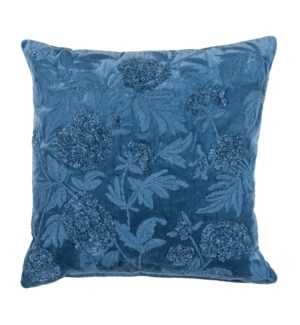 "Pauline 20"" Square Embroidered Pillow, Blue"