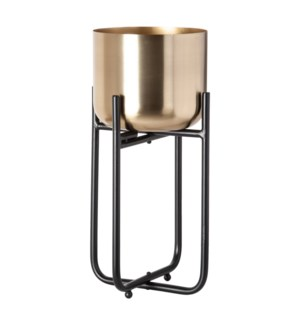 Sona Metal Planter with Stand(Lg), Black/Gold