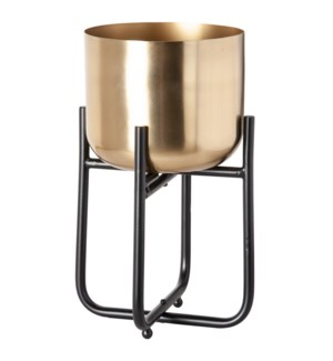 Sona Metal Planter with Stand(Sml), Black/Gold