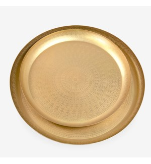 """Round Tray with etched design (set/2)-20""""/24""""-Brushed Brass"""