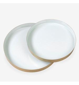Round brass tray set with enamel - Seafoam SET OF 2 - Min purchase: 2 sets