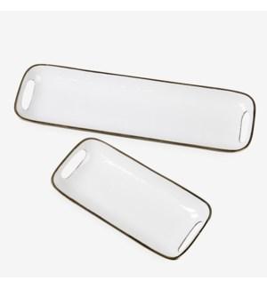 Rectangular brass tray with enamel - White SET of 2 -  Min purchase: 2 sets