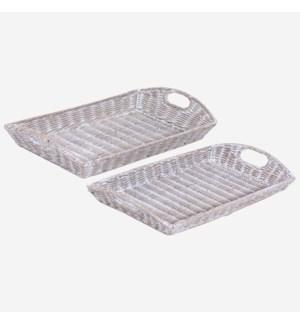 Sadira Set of 2 Rectangular Trays, Grey White Wash