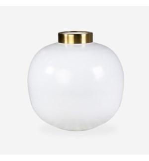 """Brass Vase-10""""White/Brass"""
